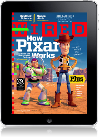 Apple iPad showing Wired Magazine Cover