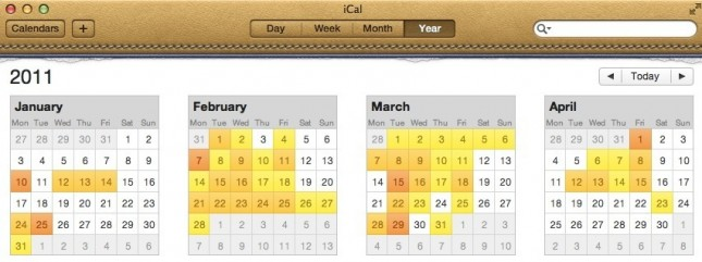 iCal's Year View on OS X Lion