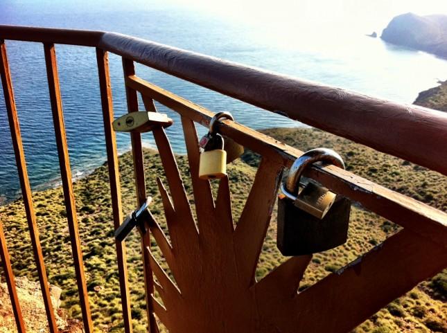 Love Locks attached to the railings of the Mirador