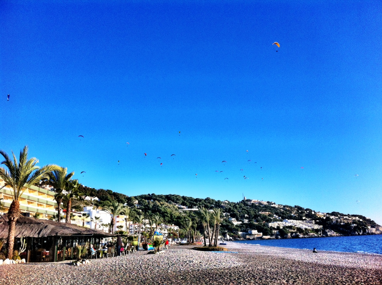 Paragliders Circling the Beach at Salobreña, Costa Tropical