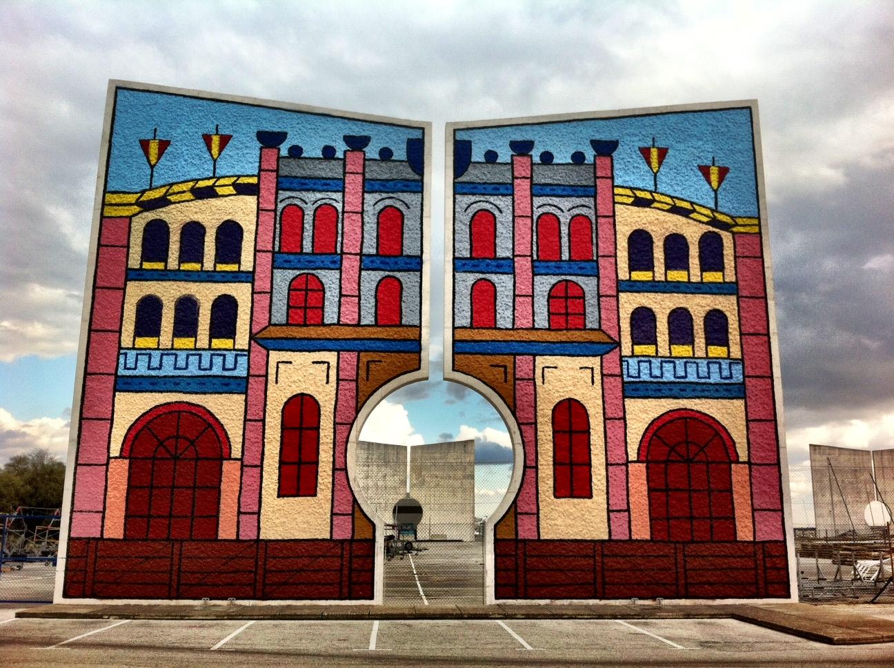 Colourful Concrete Screen at Puerto Sherry, Puerto de Santa María