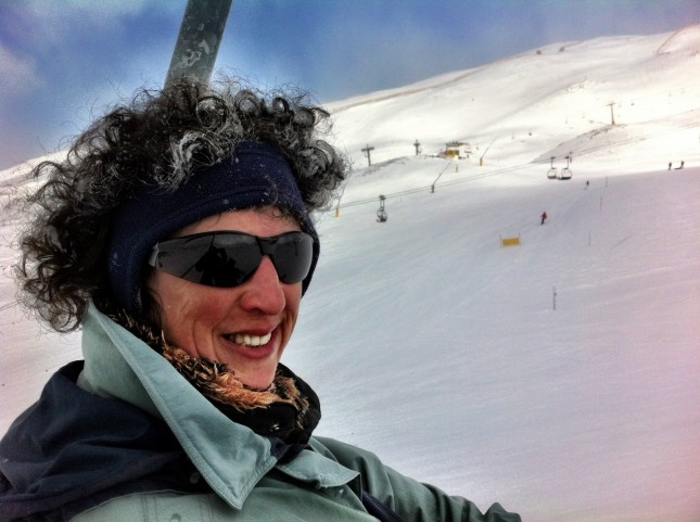 Mel showing her excitement at skiing once again - Sierra Nevada, Andalusia