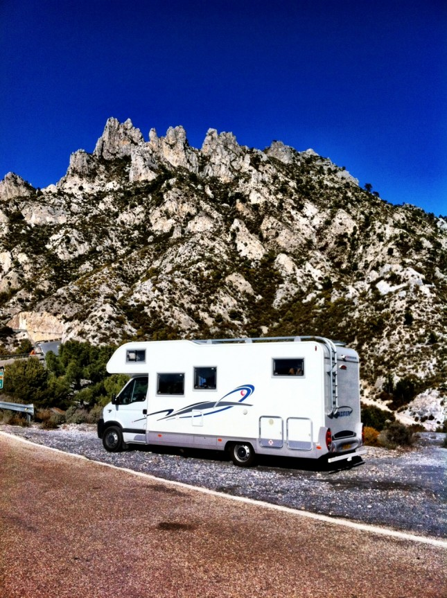 Our Motorhome, taking a breather after an exhausting mountain climb - near Otivar, Andalucia