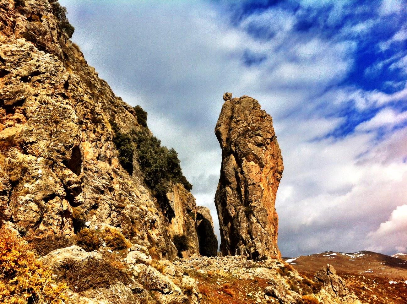 Natural Stone Pillars : Life walking in the hills above güéjar sierra