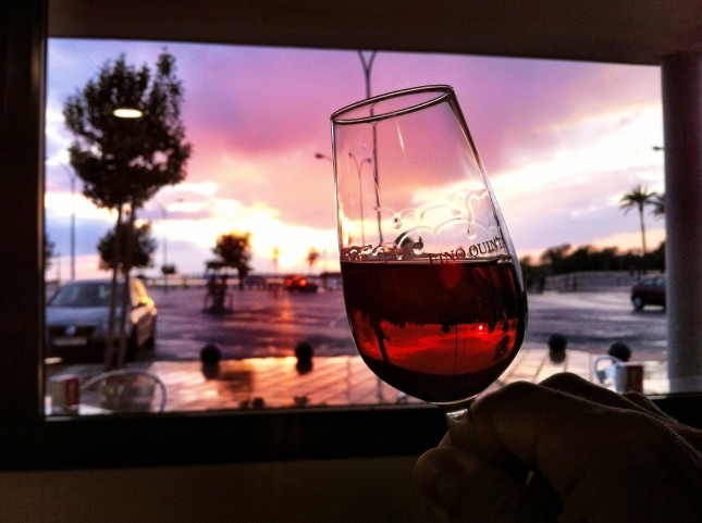 A Nice Glass of Sherry whilst watching the sunset at Puerto Sherry, Puerto de Santa María