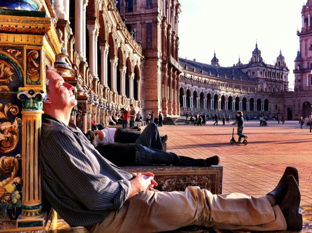 Piers lapping up the sunshine at the Plaza de España, Seville