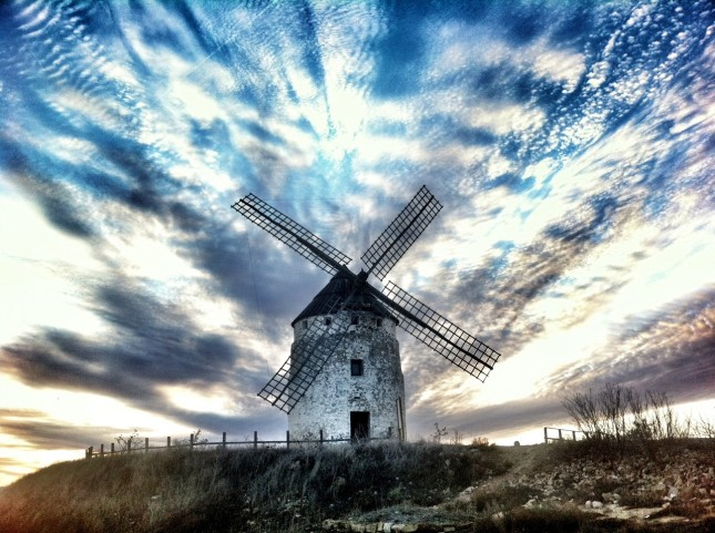 Molino de Viente at Ojoj Negros, Aragon - the only windmill in the province