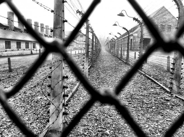 Electrified perimeter fencing at Auschwitz first Death Camp