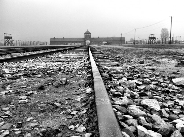 The rail entrance and disembarking area at Auschwitz II-Birkenau