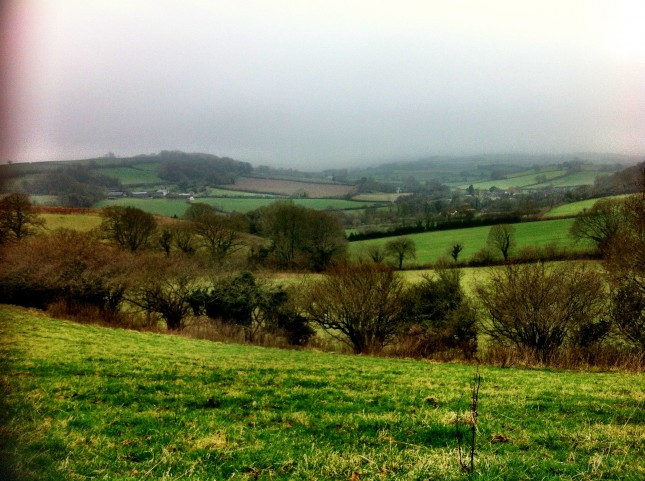 Looking Across Fields Towards Oakhampton Quarry and Home as Rain Approaches and Visibility Drops