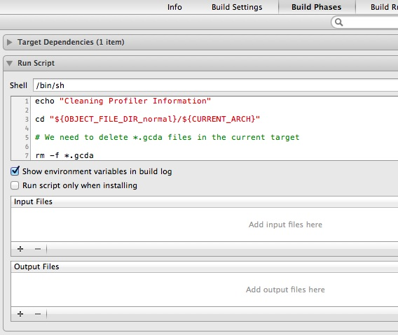Build Phase Settings with a Run Script to clear Test Coverage files at the start of the build.