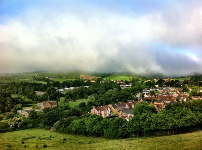 Mist hangs heavy over Wiveliscombe but the sun wins through