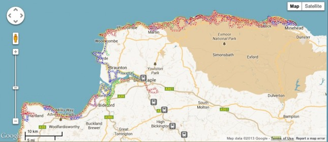 A map showing that section of coast path between Minehead and Clovelly